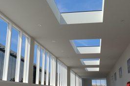 flat rooflights in corridor